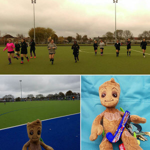 Ladies 2s warming up, plus mascot!